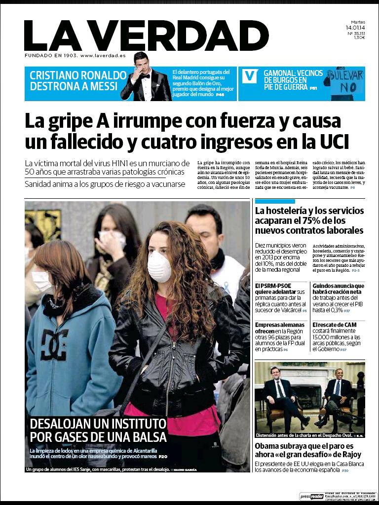 El desalojo de Sanje en la portada del Diario La Verdad